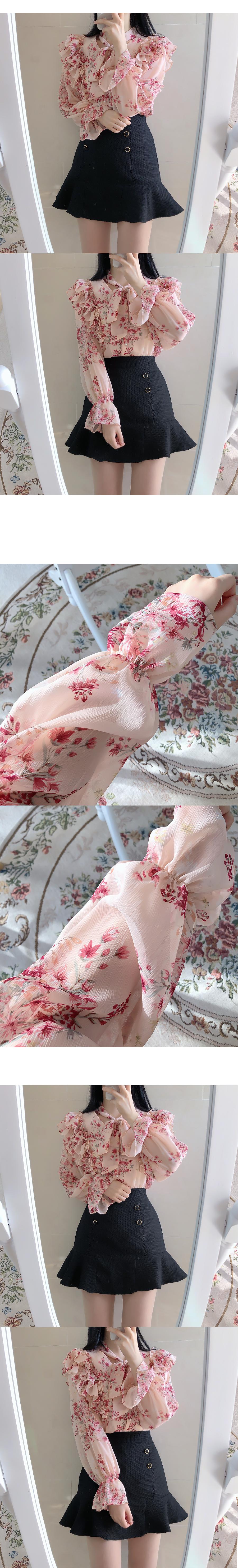 Cherry blossom ending ruffle ribbon