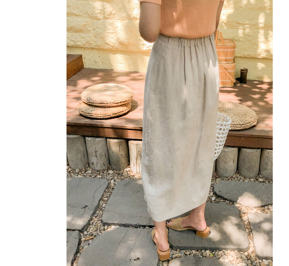Modern Linen Button Long Skirt