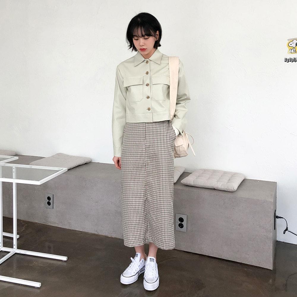 Check trim long skirt skirt
