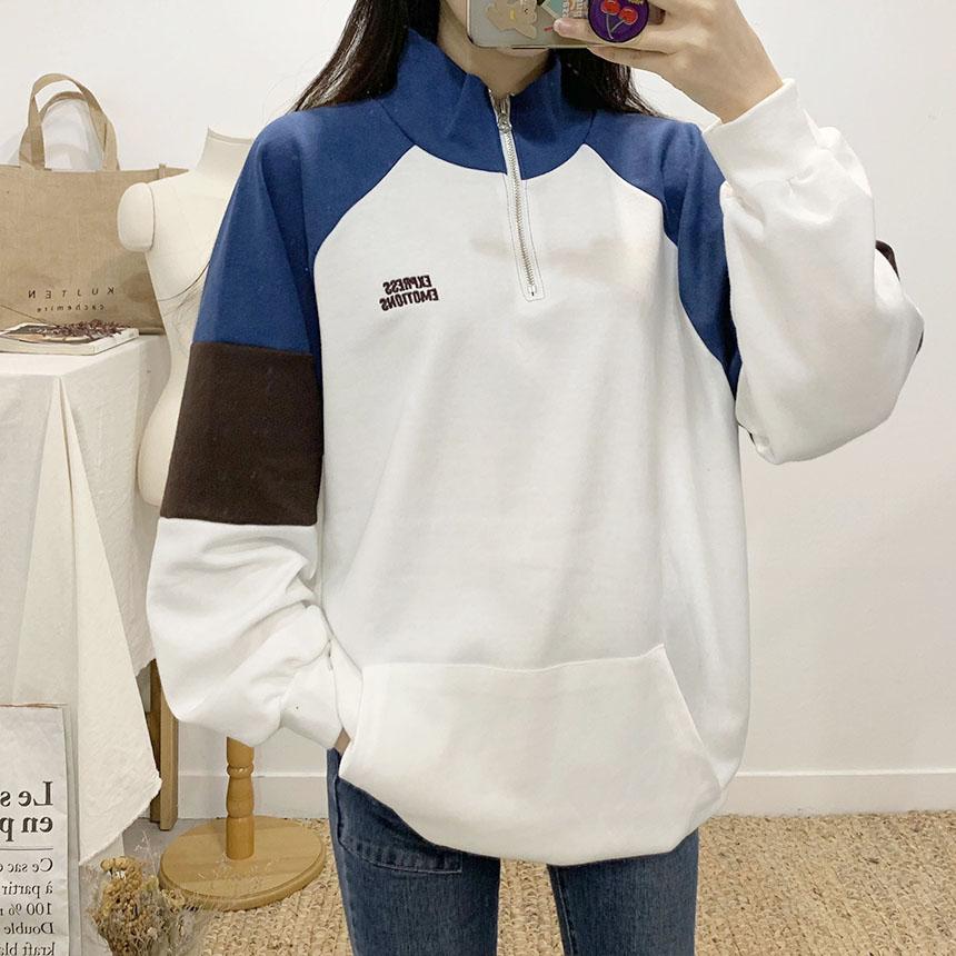 Emoticon color lettering Anorak sweat shirt