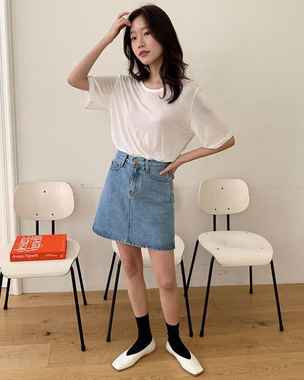 four denim mini skirts スカート