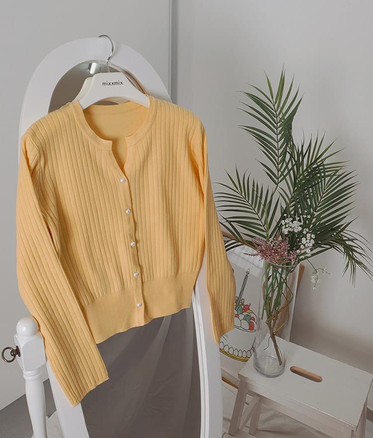修身珍珠釦直紋針織開衫(5色)