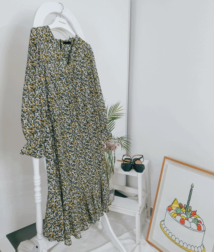 韓國空運 - Zip-Up Back Ditsy Floral Dress 及膝洋裝