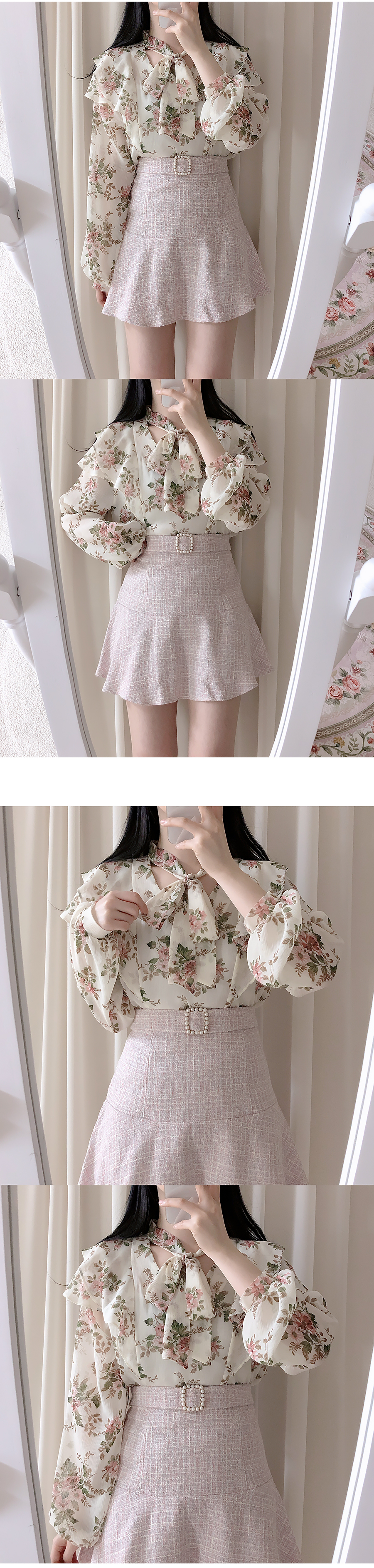 Sweet Flower Ribbon Blouse