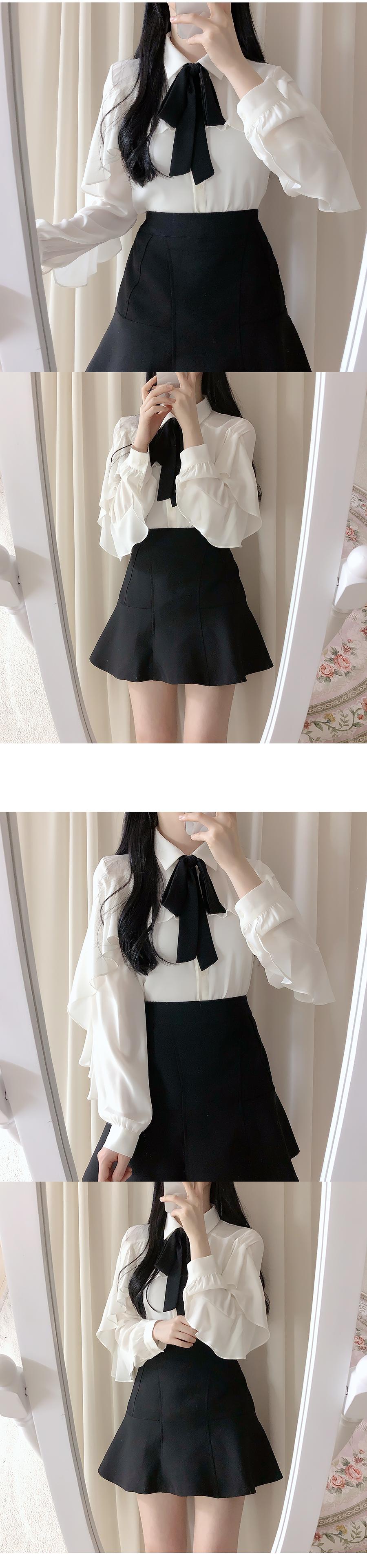 Bijou frill ribbon blouse