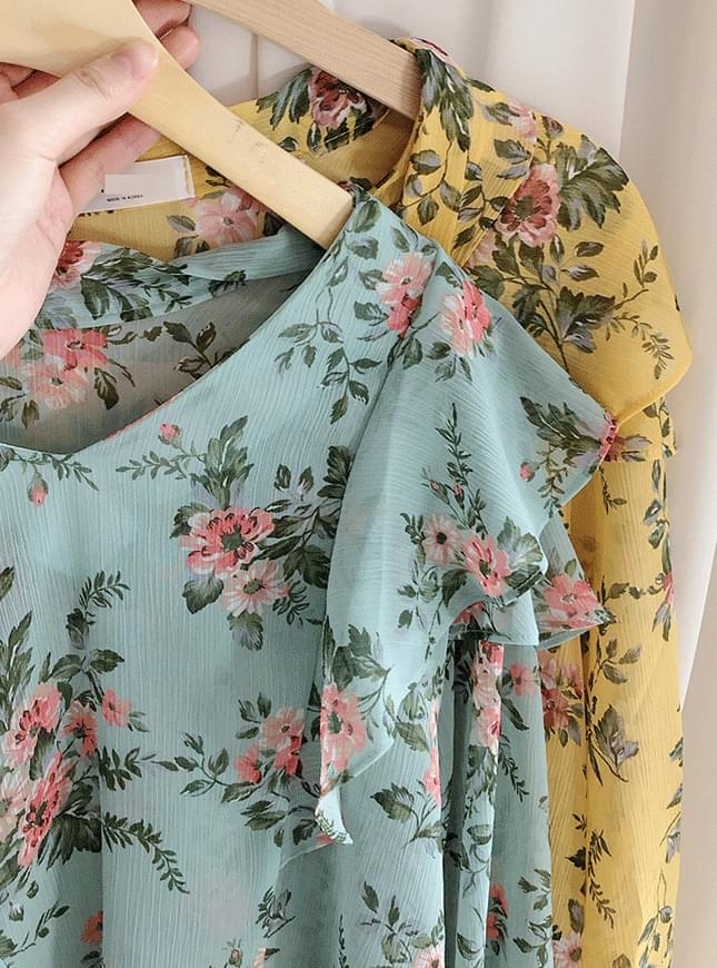 Sweet Flower Ribbon Blouse blouses