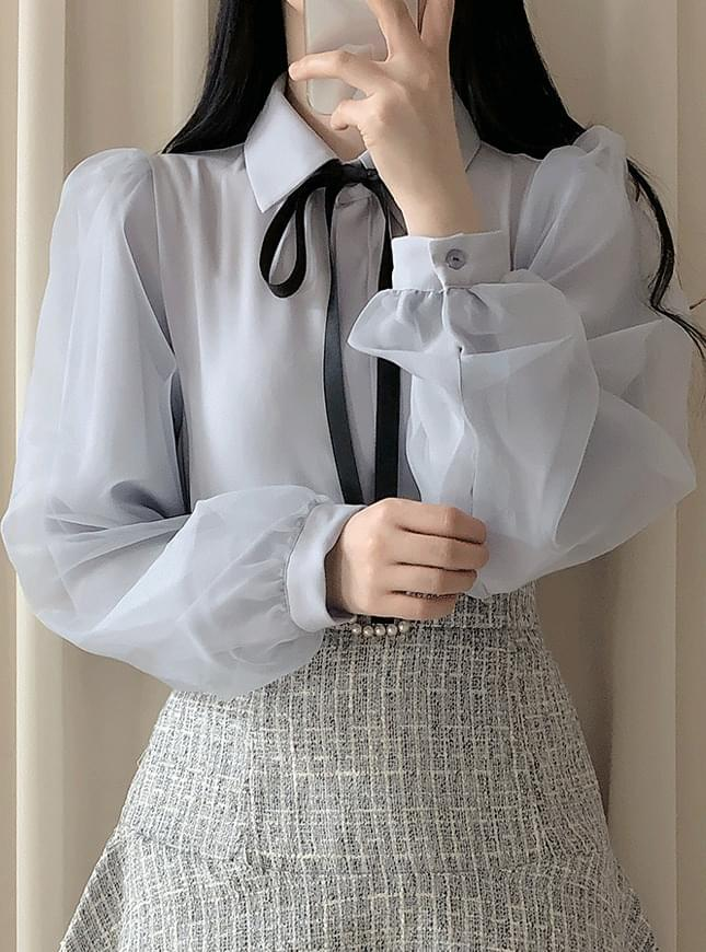 Fuel color ribbon blouse blouses