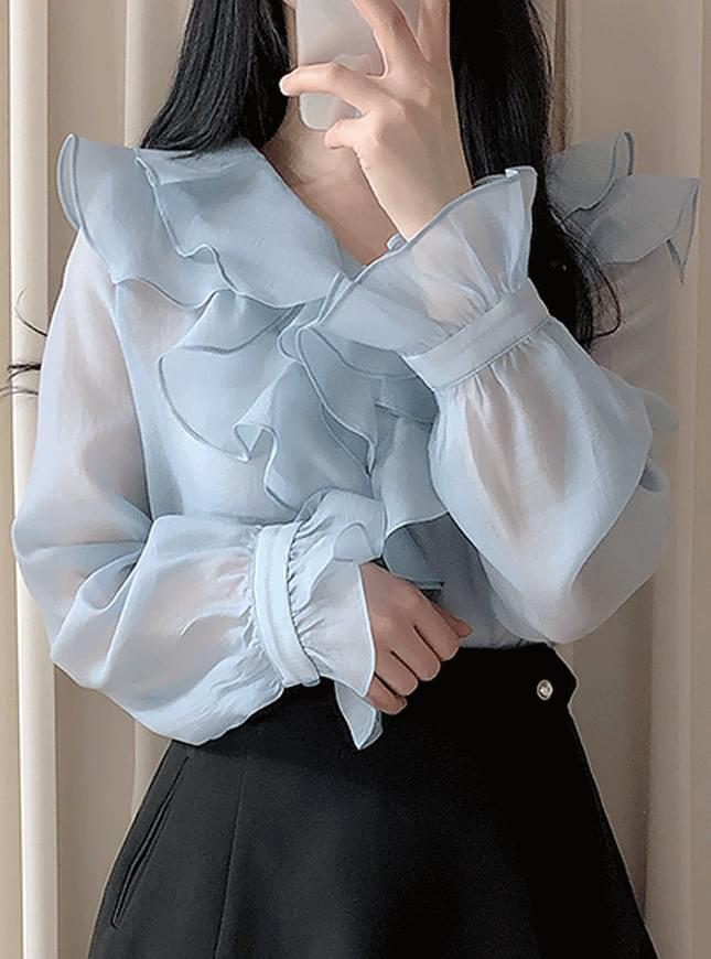 Innocent frill see-through blouse blouses