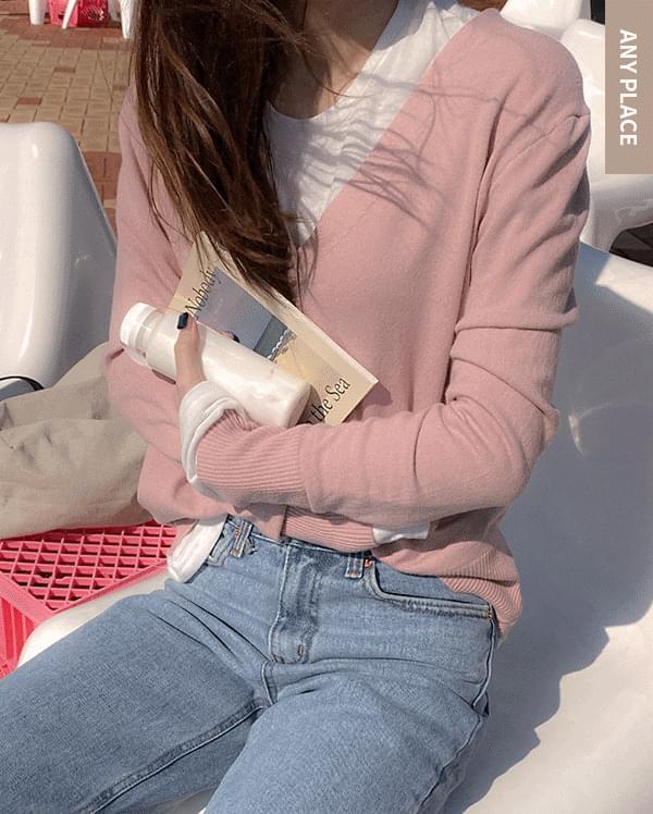All day V-neck knit cardigan