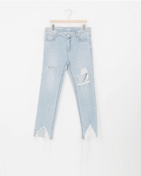 SALE) damage cutting denim underwear