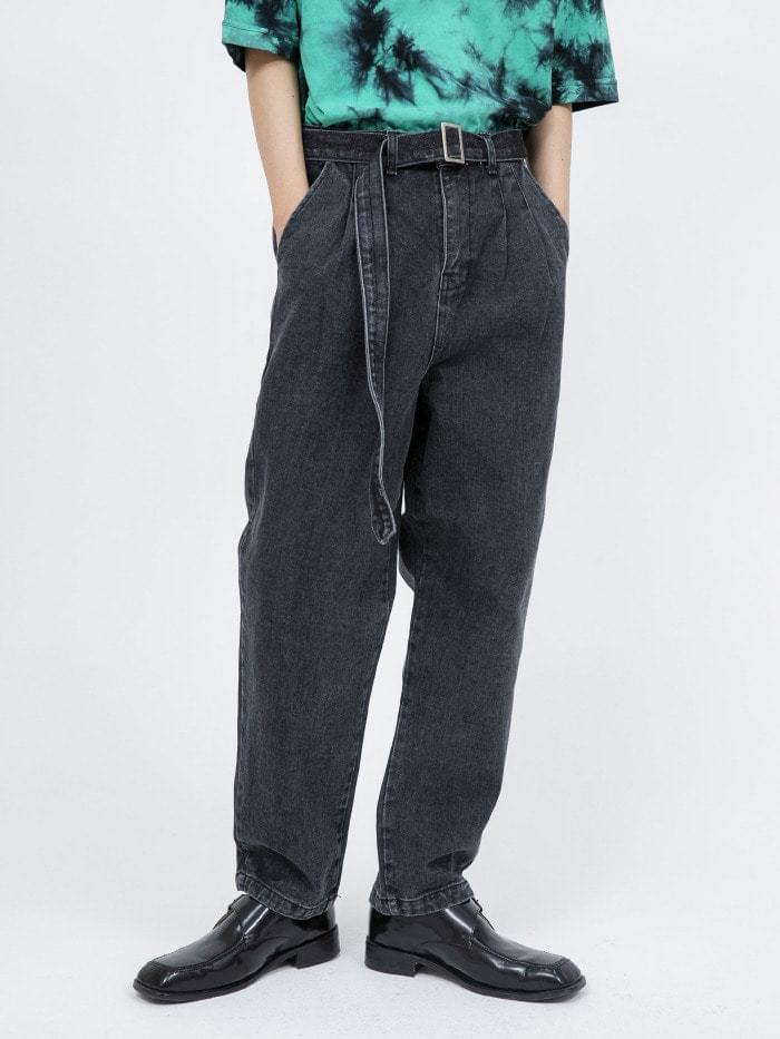 belt set pin-tuck jeans - men jeans
