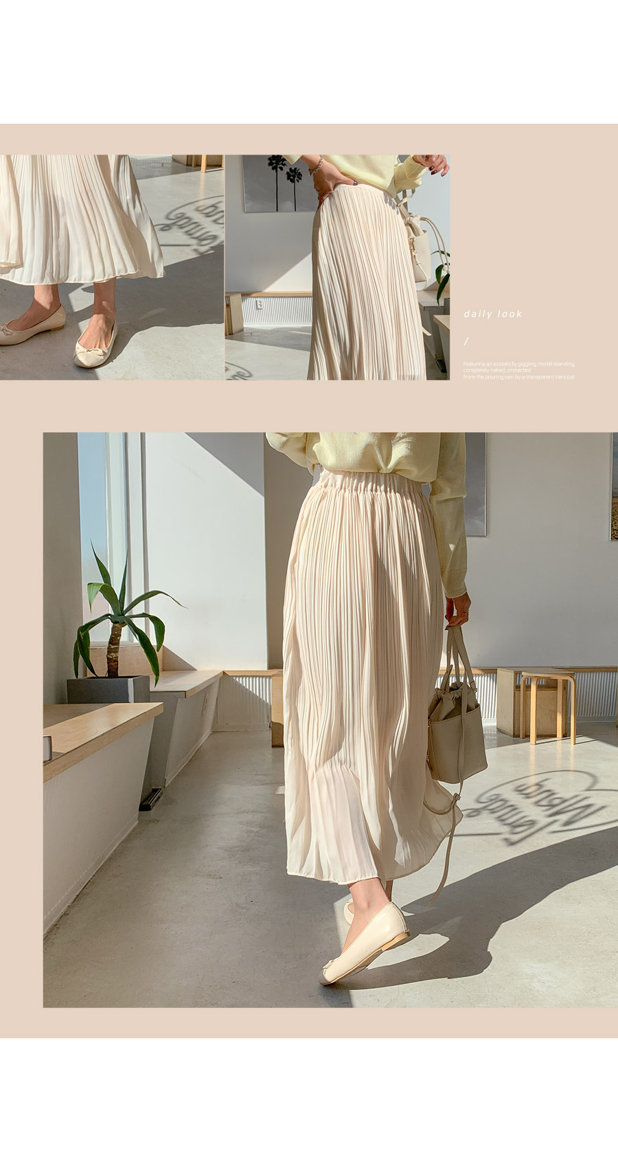 Week chiffon pleated long skirt
