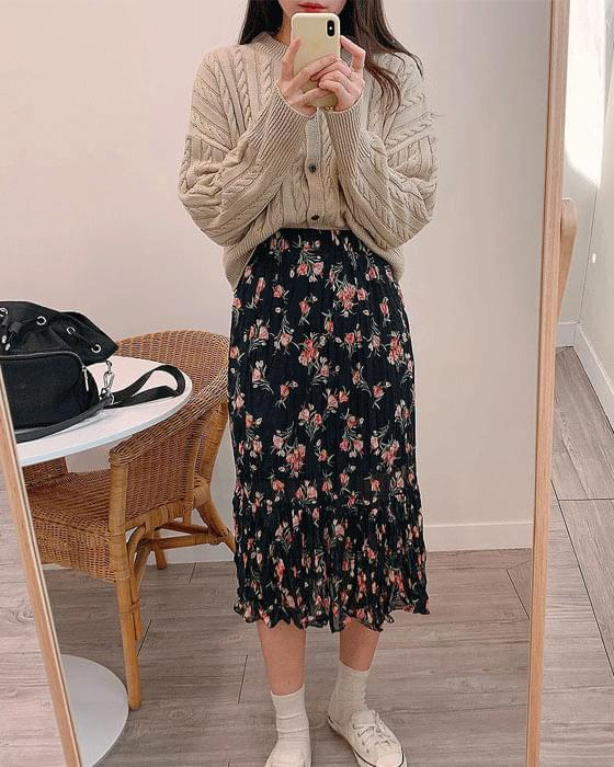 Flowery Chiffon Pleated Long Skirt-4color
