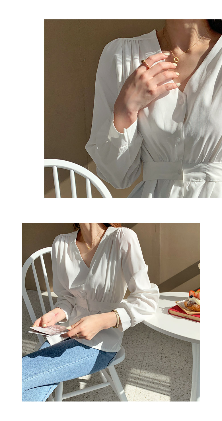 Lauren ribbon V-neck blouse