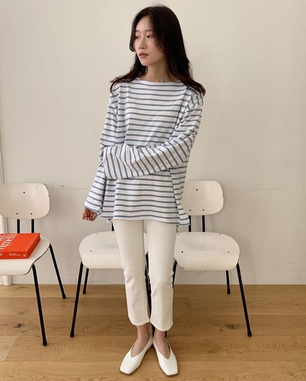 joy stripe boxy T 長袖
