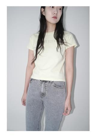 grey snow washing denim pants