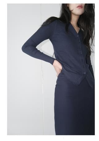 ribbed V-neck slim cardigan (4colors)