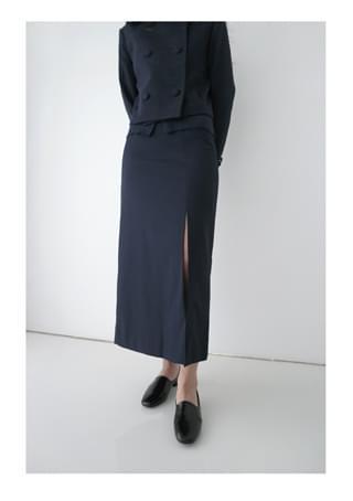 deep slit H-line skirt (3colors)
