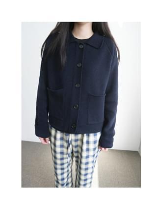 cozy woolen collar cardigan (2colors)