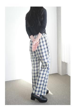 lazy check pattern banding pants (2colors)