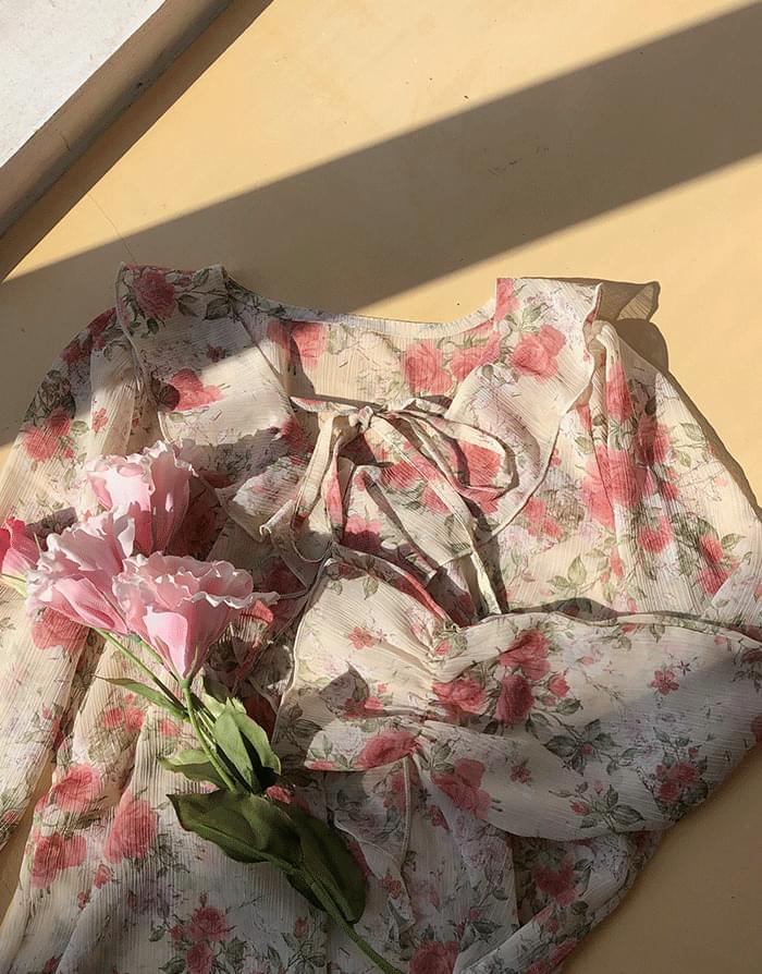 荷叶边系带领淑女袖花朵女衫