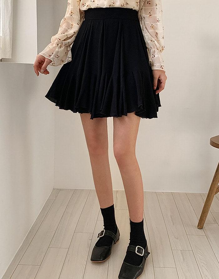 荷叶摆后弹力腰半身裙