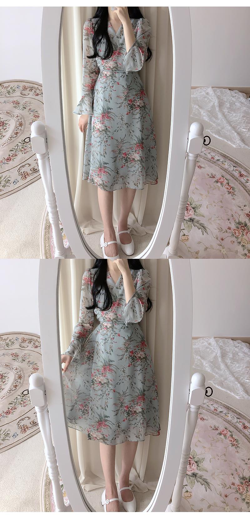 Lantern Flower Wrap Long Dress