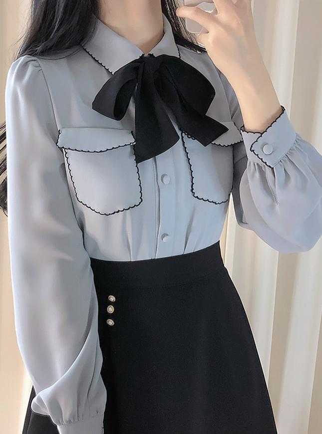 領綁結撞色捲邊襯衫上衣