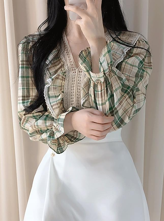 Candle Lace Checkblouse blouses