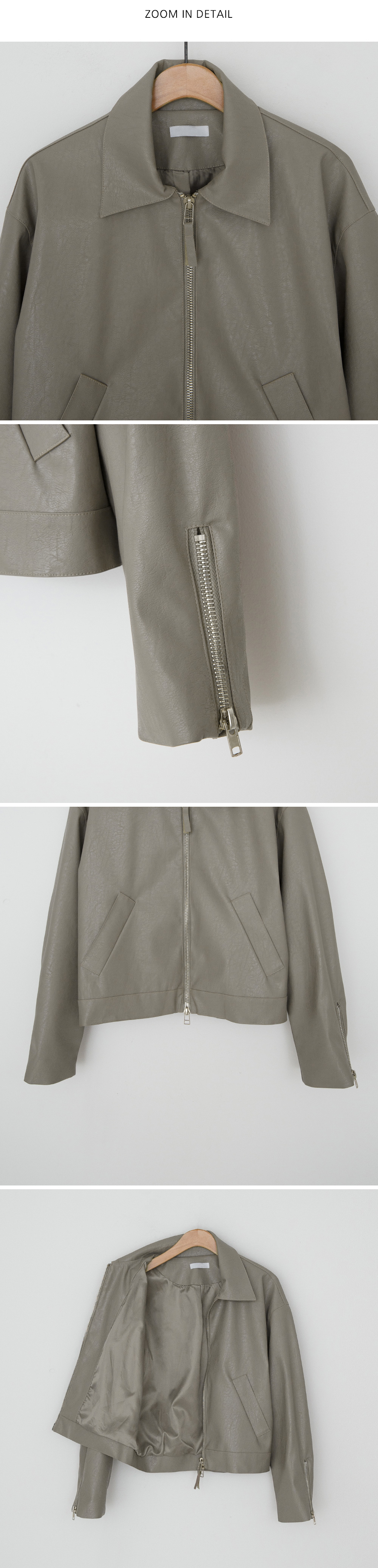 Zipper Detail Daily Leather Jacket