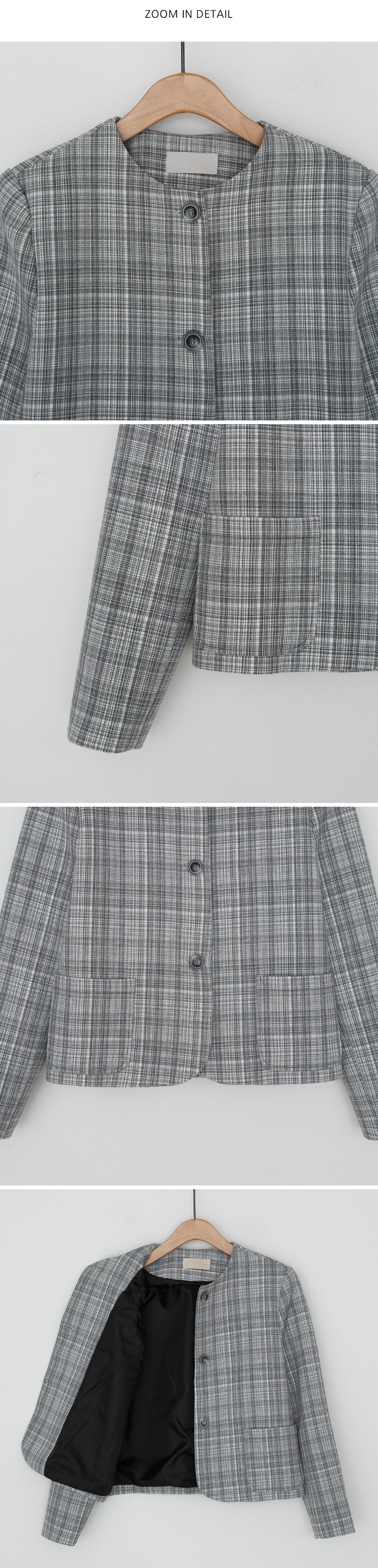 Round no collar neck check jacket