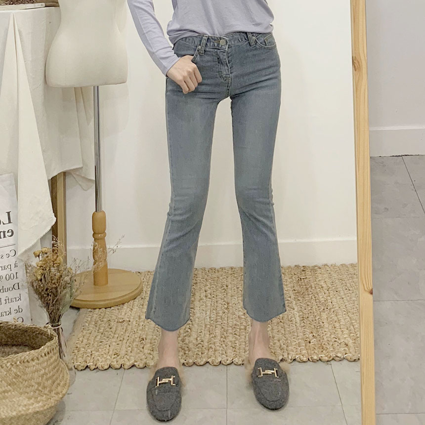 Standed semi-bootcut denim pants