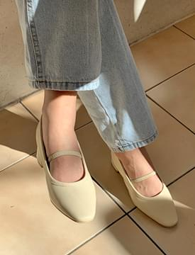 Hide middle heel shoes_H (size : 225,230,235,240,245,250)