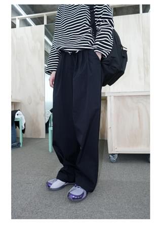 crispy wide pintuck pants (3colors)