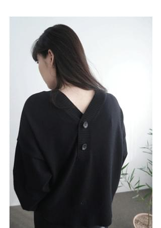 natural deep V-neck wool knit (4colors)