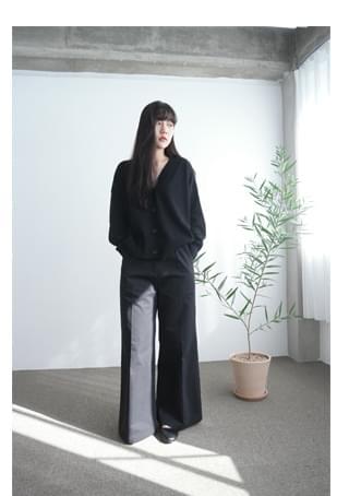 cotton banding wide maxi pants (2colors)