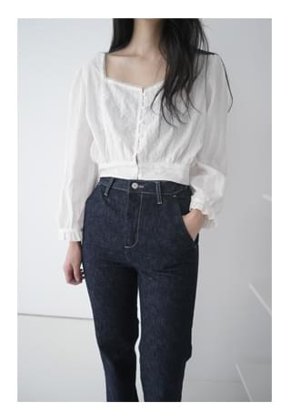 square crop flower blouse (2colors)