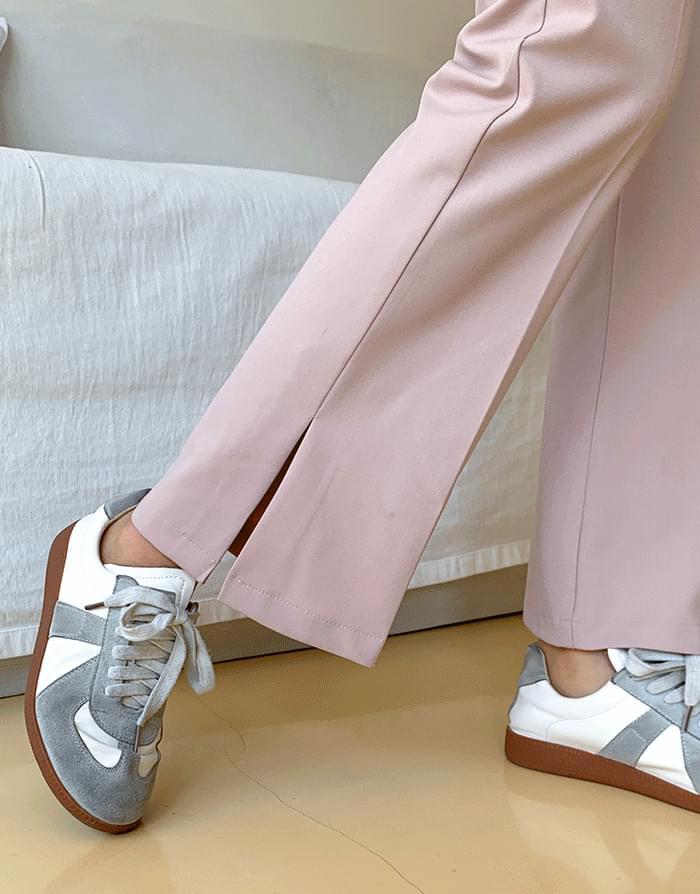 开衩裤脚修身靴型休闲裤