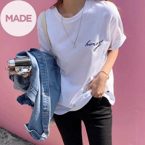 Honey Embroidery Lettering Short Sleeve T-shirt 短袖上衣