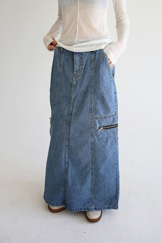 zipper denim skirts