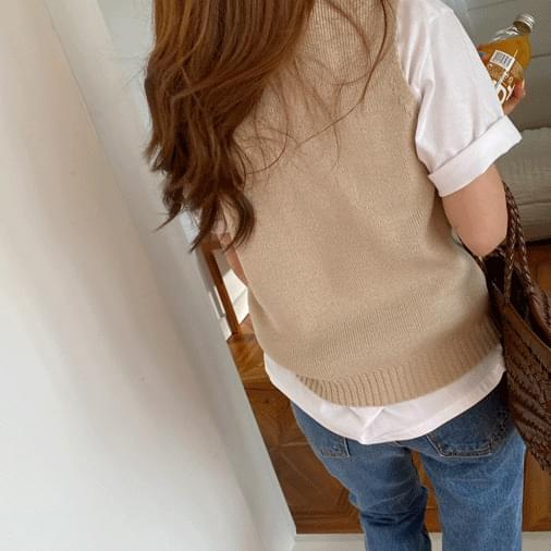 David basic knit vest