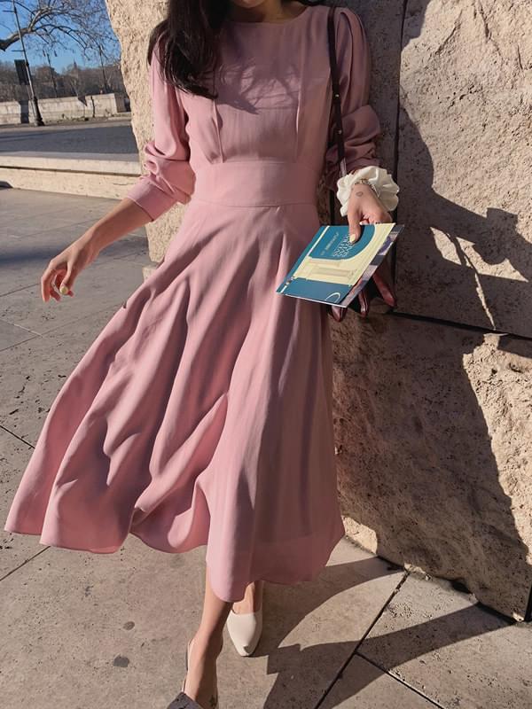 My-littleclassic / Swan-pin tuck long dress