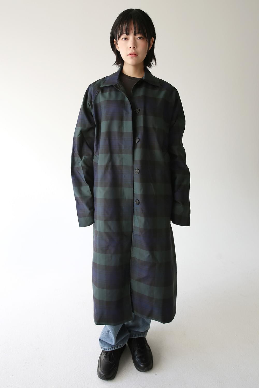 blendy check long jacket