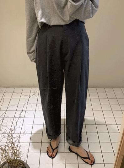 Pin tuck banding wide pants 長褲