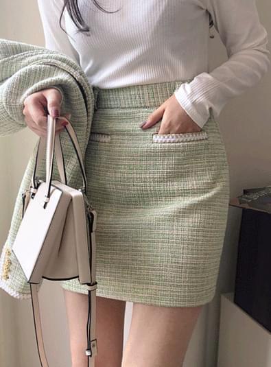 Gold line tweed sk 裙子
