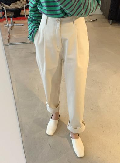 Pin tuck button wide pants 長褲