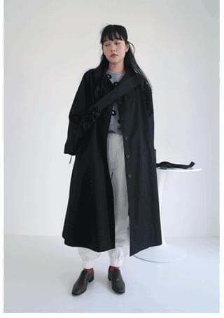 wide collar raglan trench coat コート