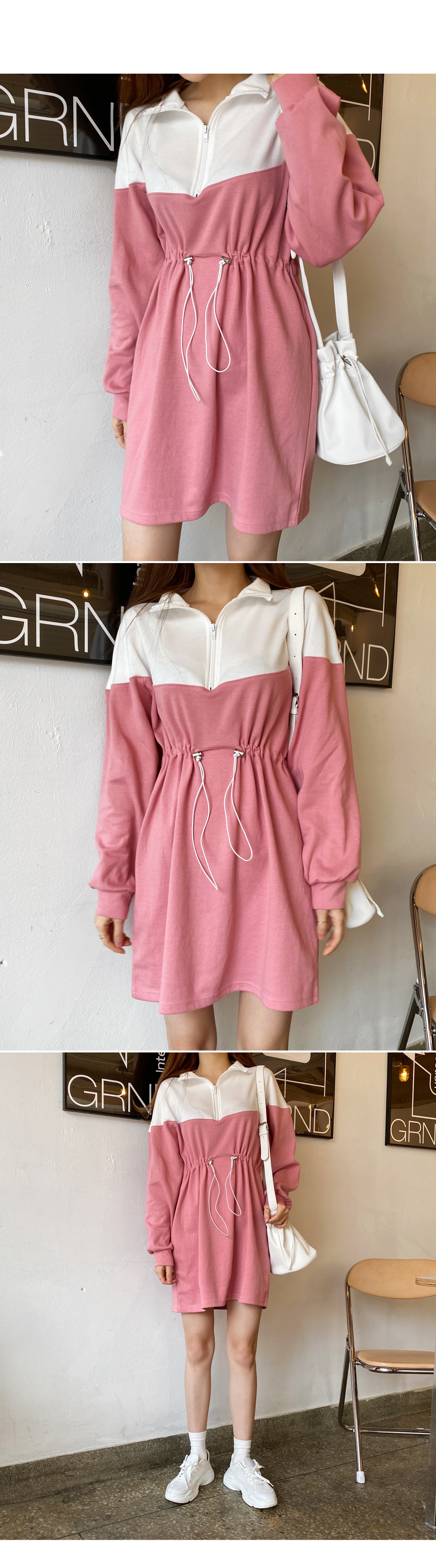 In front of the house Color Zip up dress