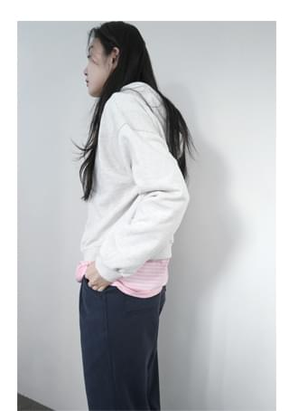 shoulder block casual hood mtm 長袖