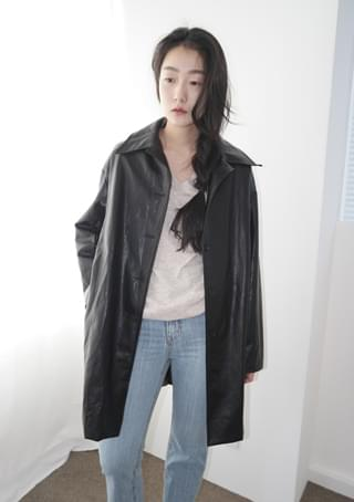 fake leather half jacket ジャケット